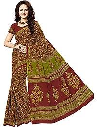 Jevi Prints Women's Multicolor & Maroon Kalamkari Printed Cotton Saree With Blouse Piece