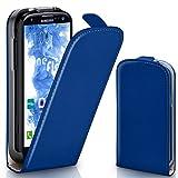 moex Samsung Galaxy S3 | Hülle Blau 360° Klapp-Hülle Etui thin Handytasche Dünn Handyhülle für Samsung Galaxy S3 / S III Neo Case Flip Cover Schutzhülle Kunst-Leder Tasche