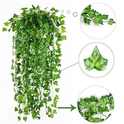 Gogogo Künstliche Grüne Blätter Pflanzenreben Kunstblatt 80 Blätter Hof Deko -