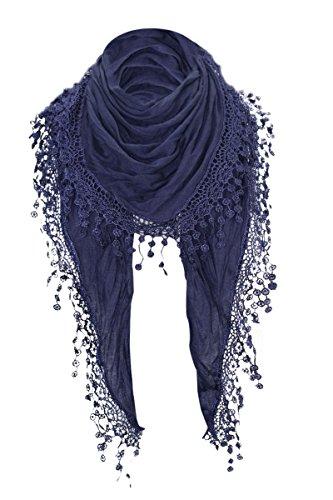 Damen Halstuch Tuch Dreiecktuch mit Bommeln Viele Farben (Dunkelblau)