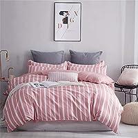 Zhuhaimei,Cuatro Juegos de sábanas nítidas y Simples en la Cama Sensación al Atardecer(Color:Rosa Claro,Size:TAMAÑO Gigante)