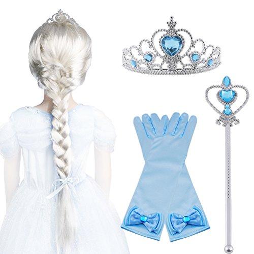 Vicloon Upgrade Set de Déguisement de Filles Pour Costume d'Elsa la Reine des Neiges Carnaval - Perruque/Diadème avec Un Diamant/Gants/Baguette Magique (B)