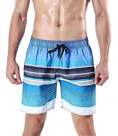 ORANSSI Men Swim Shorts Striped Mesh Lined Trunks (S(Waistline=30-32