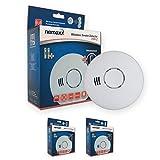 2X Nemaxx Hw2 Rilevatori di Fumo Senza Fili Rivelatori di Fumo con Sensore Combinato di Calore e di Fumo Secondo la Norma Din 14604 - Bianco