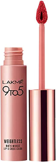 Lakme 9 to 5 Weightless Mousse Lip and Cheek Color, Pink Plush, 9 g
