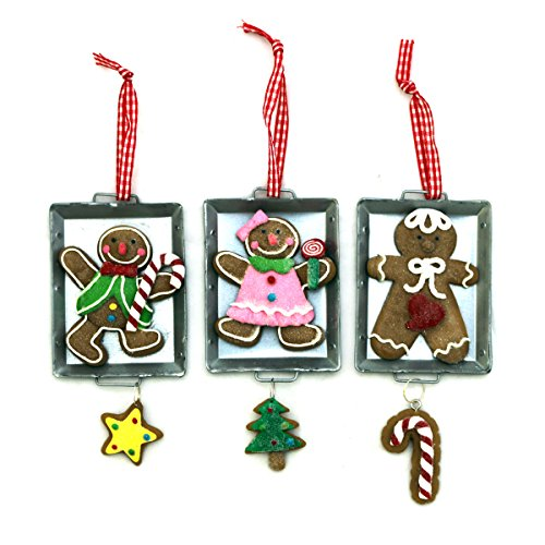 Weihnachtsdeko Hänger Fimo Christbaumschmuck Dekoration Weihnachten Fensterdeko Geschenkanhänger Lebkuchen Figuren auf Backblech Set/3 - Gall & Zick (Weihnachten Lebkuchen Dekoration)