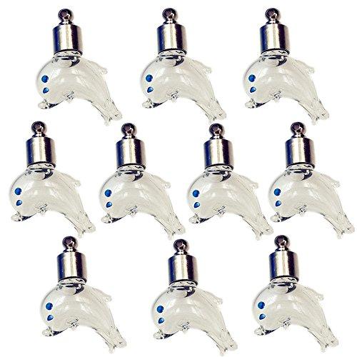 10pezzi Tappo a Vite Forma di Delfino Flaconcino di vetro collana ciondolo Mini bottiglia Charms