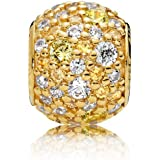 Pandora 925 Sterling Silver Cubic Zircon Stone Embellished Detail Circular Charm for Women - Gold