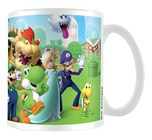 Super Mario Mushroom Kingdom taza de cerámica, multicolor