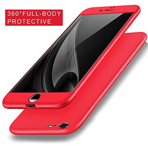 Vandot 1X Exclusive Unsichtbar Ultra Slim Dünn 0.9 MM Hart abziehbar Bumper für iPhone 6 6S 4.7 Zoll Rahmenschutz Hülle Glitzer Case Rückseite Bling Kristall Harte Hard Schale Tasche Etui Matt Air Pla 3in1 Rot