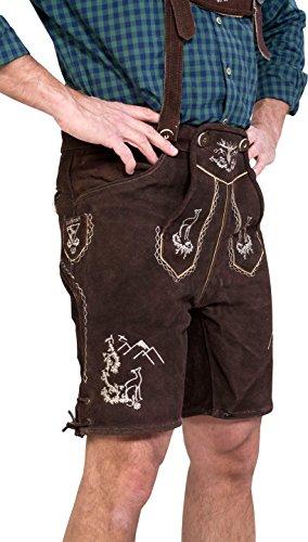 Almwerk Herren Trachten Lederhose kurz Platzhirsch in verschiedenen Farben, Farbe:Braun;Lederhose Größe Herren:46 - 3