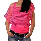 Freyday Damen Netzoberteil Sommertop Fasching Partytop in versch. Farben (L,Pink)