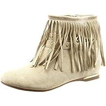 Sopily - Zapatillas de Moda Botines Tobillo mujer fleco tachonado metálico Talón Tacón ancho 1.5 CM - Beige