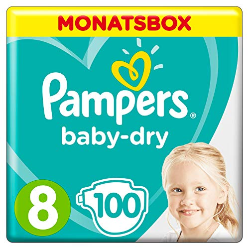 Pampers Baby-Dry Windeln, Gr. 8, 17+kg, Monatsbox, 1er Pack (1 x 100 Stück)