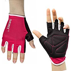 AOLIKES Transpirable Hombre Mujer Guantes Ciclismo Gimnasio Crossfit Entrenamiento Fitness Yoga Pilates Trabajo Guantes Antideslizantes Rosa M