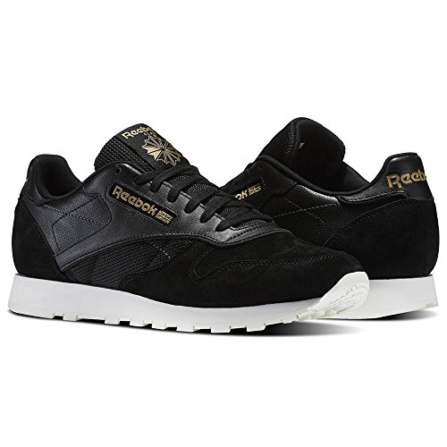 Reebok Classic Leather Alr, Sneakers Basses Homme, Schwarz/Gold (Black/Chalk/Ashgry/Brass) Schwarz/Gold (BLACK/CHALK/ASHGRY/BRASS)