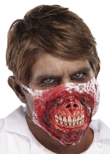 Zombie Maske Doktor Horror Mund Blut Mundschutz Kontaminierter Untoter mit Killer Gebiss und Blutspuren im Gesicht Halloween Verkleidung Flashmob Sensation Zombiewalk (Zombie Kostüme Doktor)