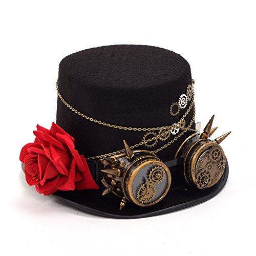 Sombrero elegante con rosa roja