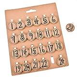 Adventskalender Zahlen auf Holz Klammer - Zahlen 1-24 mit Clip - Advents Sticker