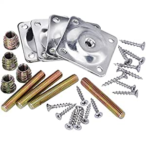 Mudder Leg Mounting Plates with Hanger Bolts Screws Adapters for Furniture Sofas Couches Seats, 28 Pieces