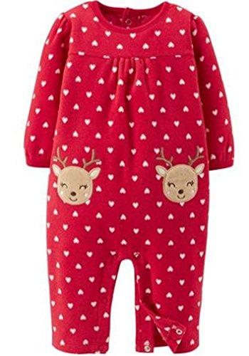 Strampler rot Rentier Herzen 56/62 Einteiler Fleece girl Weihnachten Schlafanzug US SIZE 0-3 month girl -