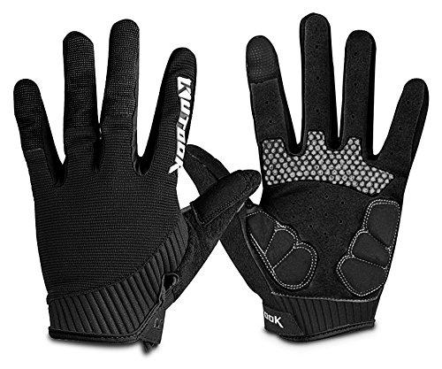 Kutook Herren Fahrradhandschuhe Mit Gel Vollfinger MTB Handschuhe für das Radfahren(Schwarz,L)