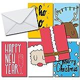 Moderne élégant Kit de cartes de Noël, 36cartes format A6, 36enveloppes Blanc, design moderne gris or pour Noël et nouvel an...