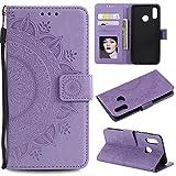 HTDELEC Huawei P20 Lite Hülle, Ultra Slim Flip Hülle Violett Etui mit Kartensteckplatz & Magnetverschluss Leder Wallet Klapphülle Book Case Bumper Tasche für Huawei P20 Lite(T-Violett)