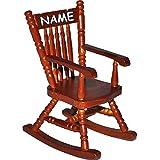 Unbekannt Miniatur - Schaukelstuhl / Stuhl - dunkels Holz - inkl. Name - Maßstab 1:12 - Mini - für Puppenstube Puppenhaus - Nostalgie Wohnzimmer Möbel Schaukelstühle - ..