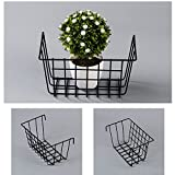Zonyeo metallo cestino appeso, multifunzionale creativo griglia Holder organizer portaoggetti da parete con mensola porta piante vasi da fiori nero rivestito