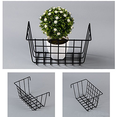 zonyeo Metall Wire Hängepflanze Korb, multifunktional Creative Mesh Wall Grid Halter Aufbewahrung Organizer Halter Regal Blumentöpfe schwarz beschichtet (Garage Organisation Wand)