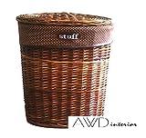 Hochwertiger Wäschekorb-Landhausstyle-Wäschesammler-Weidenkorb rund -Farbe:Hellbraun mit Deckel und Stoffinlay-Größe: Größe: 53*41*61