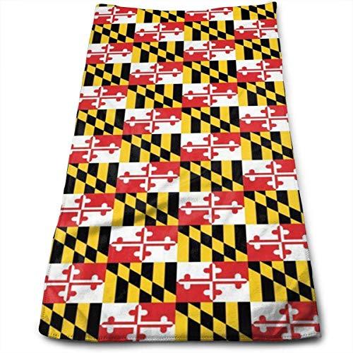 WERERT Eco-Friendly Handtücher Maryland Flags Soft Cotton Large Hand Towel Bathroom Towels Super Absorbency,Multipurpose,Quick Drying,Maimum Softness,Machine