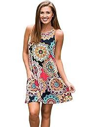 Honestyi Damen Maxikleider Sommerkleider vintage Boho Blumen Kleid Neckholder Printkleider Partykleider Strandkleider Minikleid Große Größe S-XXL