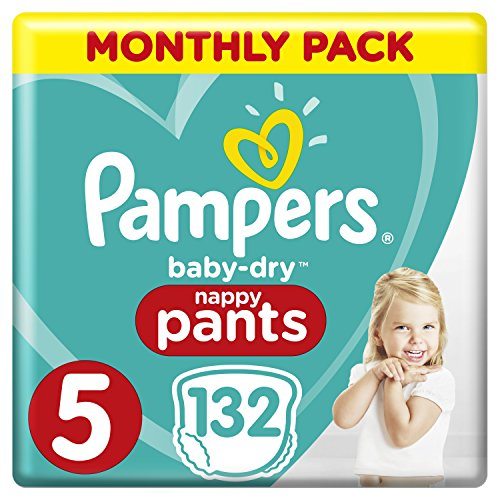 Pampers Baby-Dry Size 5, 132 Nappy Pants, (12-17kg), Easy-On for Up to 12 Hours of Breathable Dryness, Monthly Pack- Packaging may vary