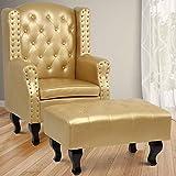 MIADOMODO Chesterfield Ohrensessel Vintage mit Hocker in Gold | Relaxsessel, Fernsehsessel, Clubsessel, Polstersessel im klassischen Design aus Eco-Leder