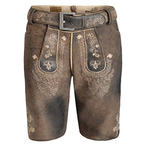 kurze Lederhose in Braun von Marjo Trachten, Größe:50, Farbe:Braun