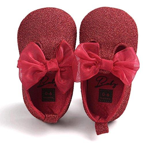 FEITONG Baby Bowknot Leder Schuhe Sneaker Anti-Rutsch Soft Sole Kleinkind (11, (Tuch Elf Schuhe Rotes)