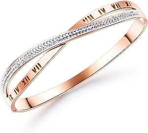 Rehao Braccialetti Donna oro rosa elegante bracciale in acciaio al titanio placcato oro con cristalli da Donna lei fidanzata, moglie mamma