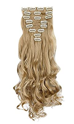 8 Piece 18 Cilps Clip in Hair Extensions Full Head 17 inches Curly Hair Extension
