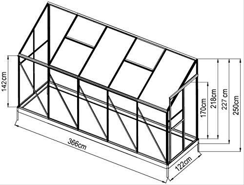 4,5m² Profi - Anlehn Gewächshaus Anlehngewächshaus Glashaus m. 6mm Hohlkammerstegplatten - (Platten MADE IN AUSTRIA) inkl. Stahlfundament von AS-S
