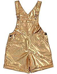 BFD Shiny Holographic Gold Or Silver Dungarees with Adjustable Straps for Men. One Size Fits Small to Medium. Wash On Cool Cycle Festival, Party Or Casual Wear. Men's Metallic Dungarees.
