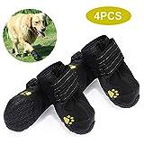 mewmewcat Hundeschuhe für Hunde, wasserdicht, mit reflektierendem Band, robust, rutschfest, einzigartig, Pfotenschutz, Haustiere, 4 Stück, Size 8