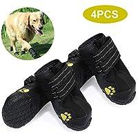 yorten 4 PCS Zapatos para Perros, Conjunto de Botas Impermeables Zapatos para Exteriores con Suela Antideslizante Resistente Negro