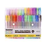 Guansky Set di 48 Glitterate Penne Gel Colorate per Adulti e Bambini da Colorare, Disegnare e Scrivere (12 Metallico + 12 Glitterato + 12 Neon + 12 Pastello)