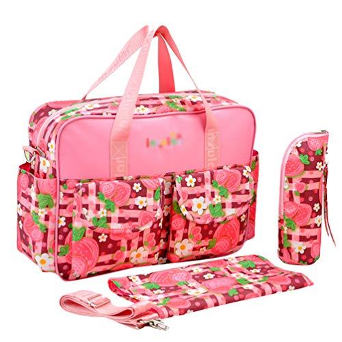 Haobing Moderne Wickeltasche 2pcs Geräumige Baby Tasche Reise Wickelhenkeltaschen Umhängetaschen für Schwangere (Erdbeer-Rose, 39 * 12.5 * 29cm)