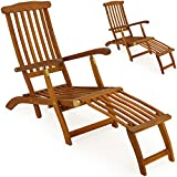 2X Hartholz Deckchair Sonnenliege Liegestuhl Holz Liege Stuhl Gartenmöbel