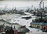 L S Lowry Print / Picture - RIVER SCENE 1942 - 16 x 12inch Image Plus Border
