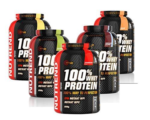 Proteína Whey de suero en polvo Nutrend 100% de la fresa por Nutrend 2250g espectro perfecto de aminoácidos con alto valor biológico en este producto de vanguardia