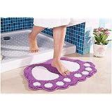 Alfombras de baño antideslizante super agua absorben grandes pies en forma de alfombrillas de baño doormat para sala de estar, dormitorio, cocina - 40x60cm, púrpura